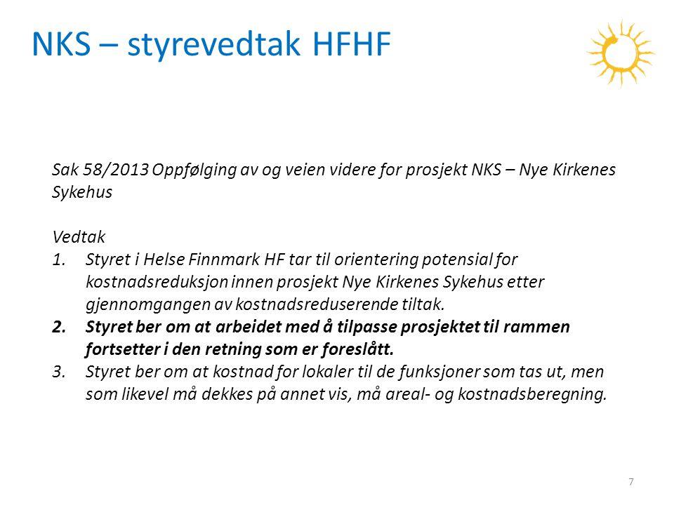 NKS – styrevedtak HFHF Sak 58/2013 Oppfølging av og veien videre for prosjekt NKS – Nye Kirkenes Sykehus.
