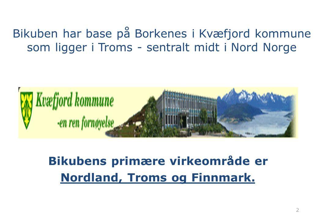 Bikubens primære virkeområde er Nordland, Troms og Finnmark.