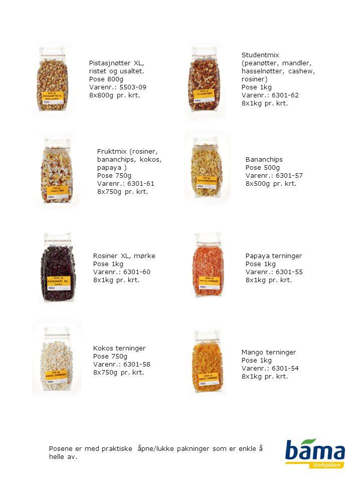 Studentmix (peanøtter, mandler, hasselnøtter, cashew, rosiner) Pose 1kg Varenr.: 6301-62 8x1kg pr. krt.