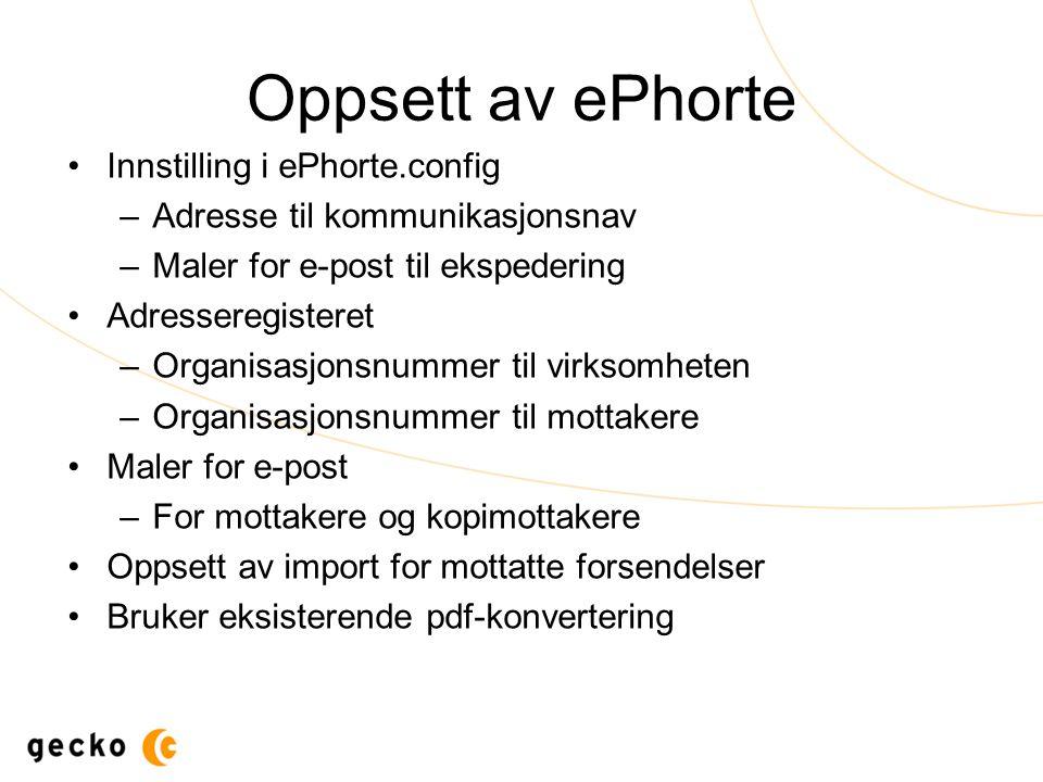 Oppsett av ePhorte Innstilling i ePhorte.config