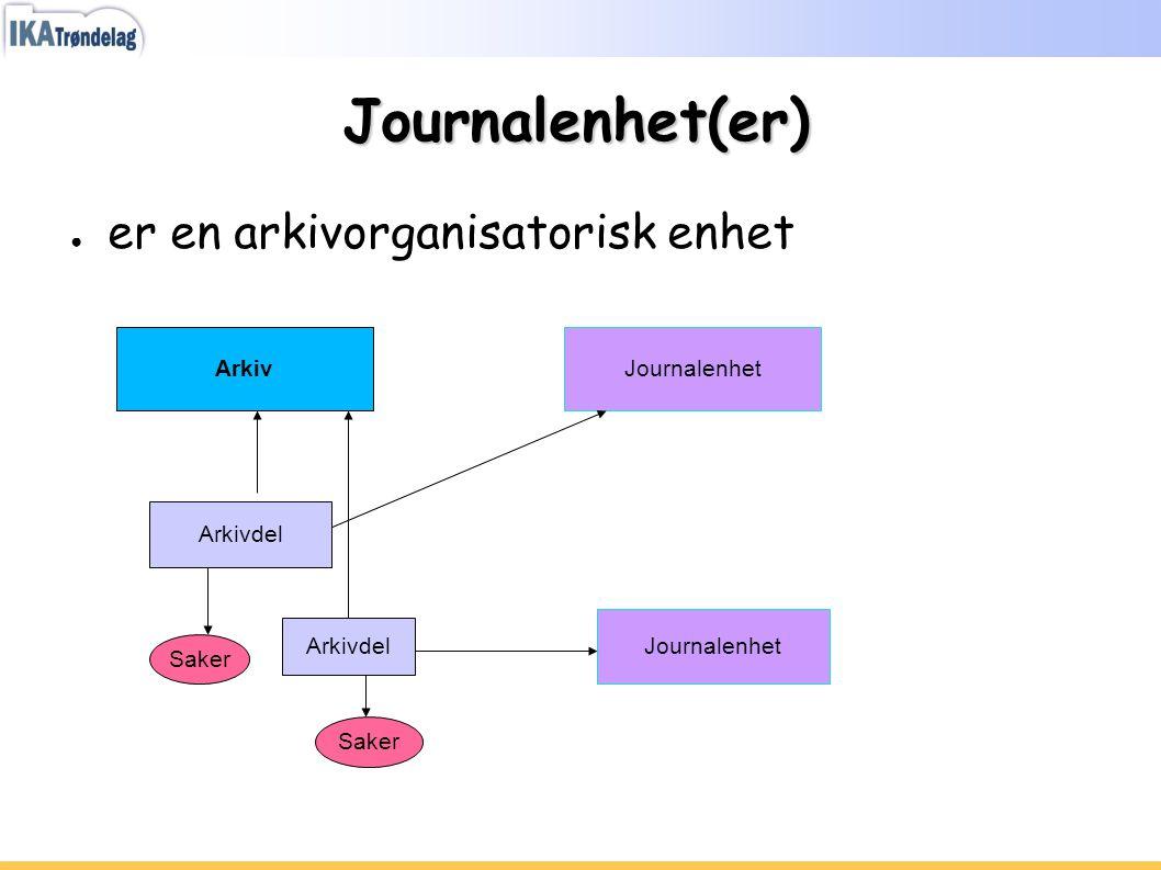 Journalenhet(er) er en arkivorganisatorisk enhet Arkiv Journalenhet