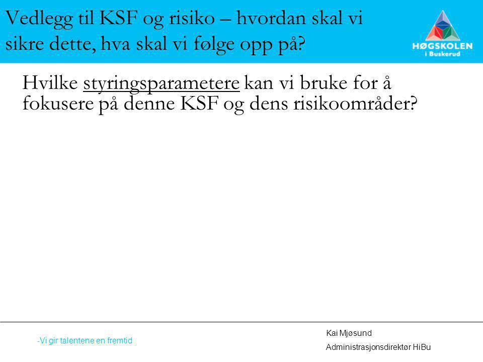 Vedlegg til KSF og risiko – hvordan skal vi sikre dette, hva skal vi følge opp på