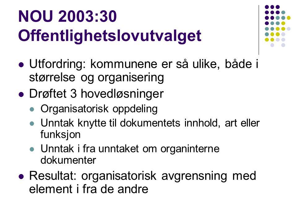 NOU 2003:30 Offentlighetslovutvalget