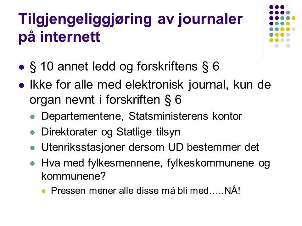 Tilgjengeliggjøring av journaler på internett