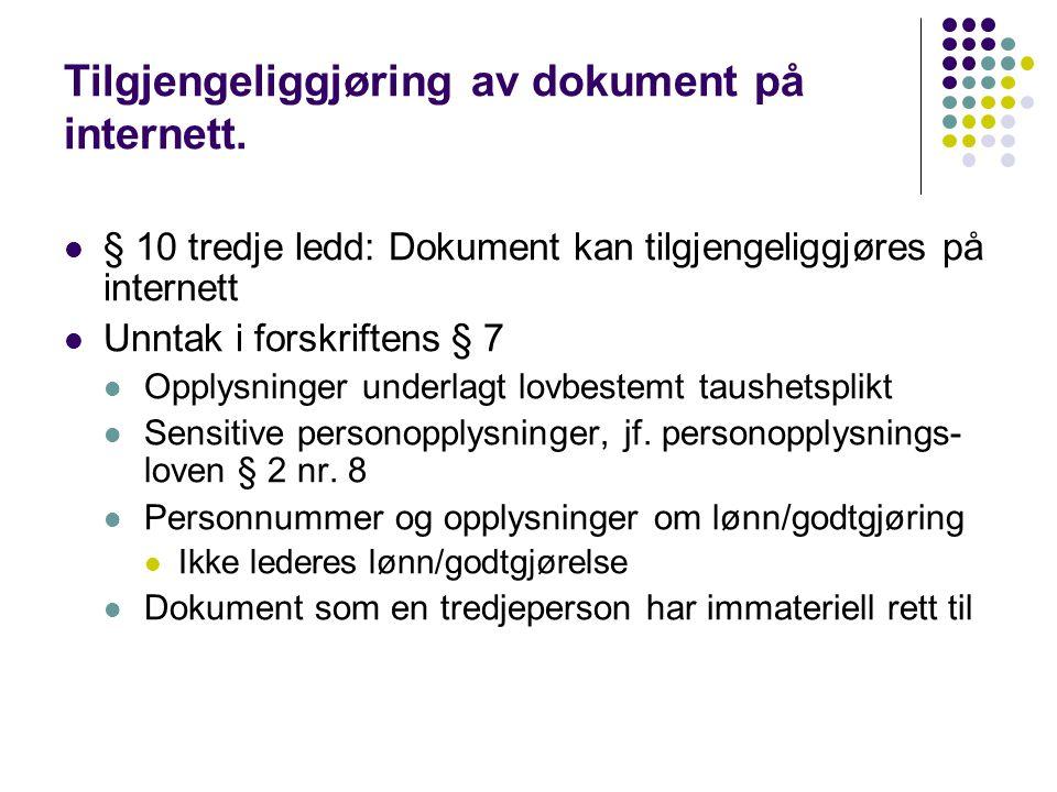 Tilgjengeliggjøring av dokument på internett.