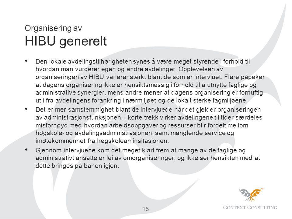 Organisering av HIBU generelt