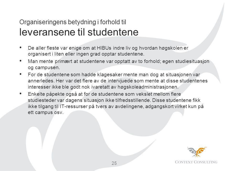 Organiseringens betydning i forhold til leveransene til studentene