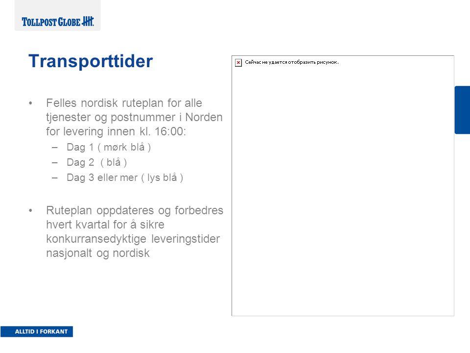 Transporttider Felles nordisk ruteplan for alle tjenester og postnummer i Norden for levering innen kl. 16:00: