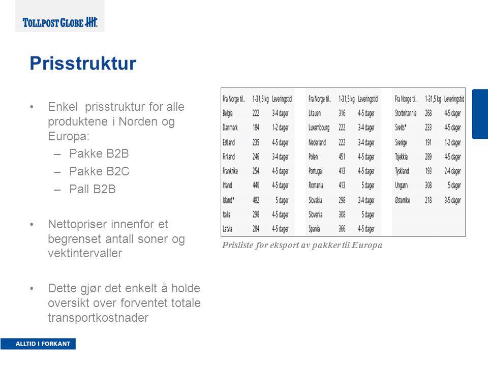 Prisstruktur Enkel prisstruktur for alle produktene i Norden og Europa: Pakke B2B. Pakke B2C. Pall B2B.