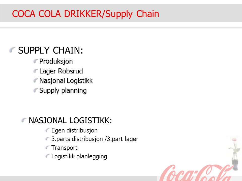 COCA COLA DRIKKER/Supply Chain