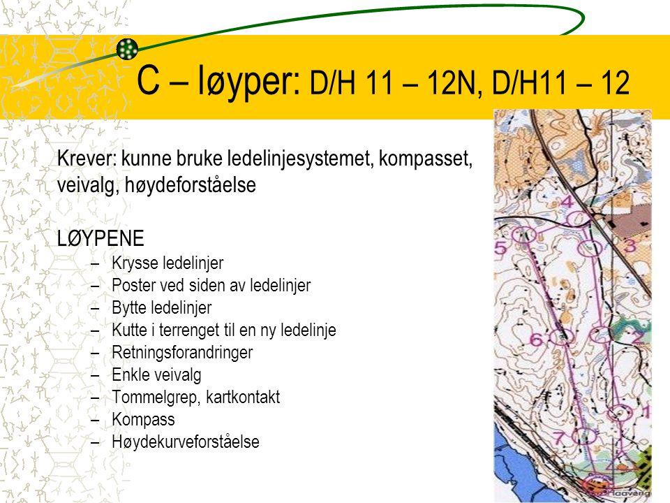 C – løyper: D/H 11 – 12N, D/H11 – 12 Krever: kunne bruke ledelinjesystemet, kompasset, veivalg, høydeforståelse.