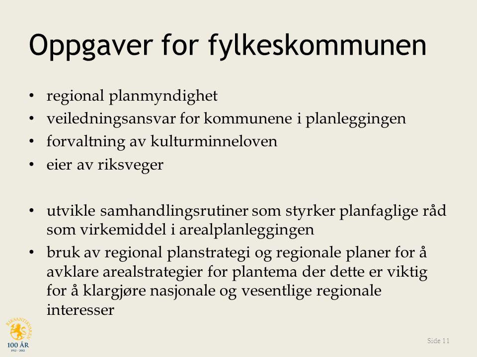 Oppgaver for fylkeskommunen