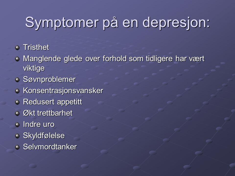 Symptomer på en depresjon: