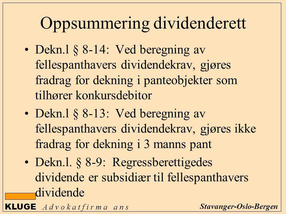 Oppsummering dividenderett