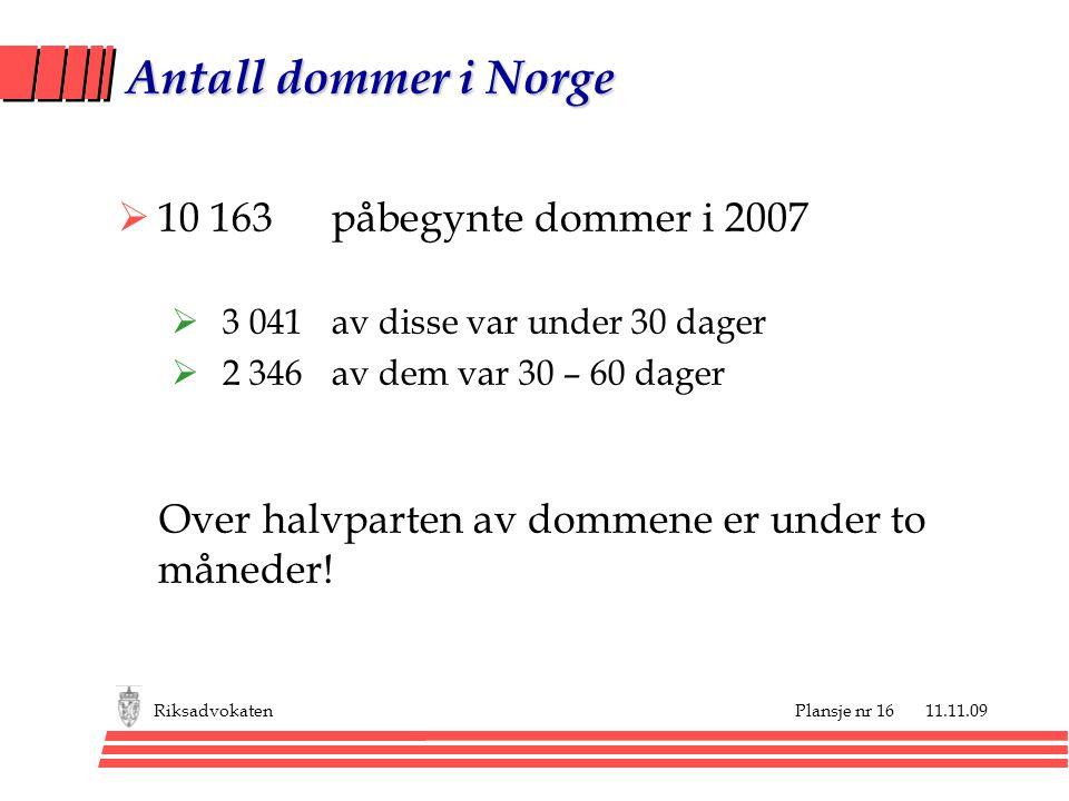 Antall dommer i Norge 10 163 påbegynte dommer i 2007