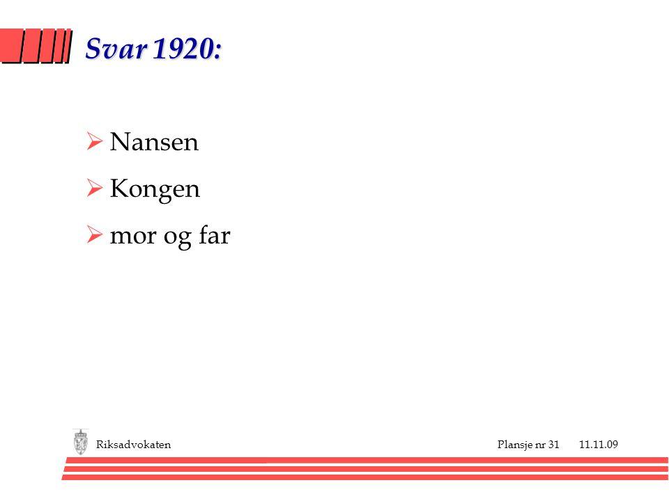 Svar 1920: Nansen Kongen mor og far