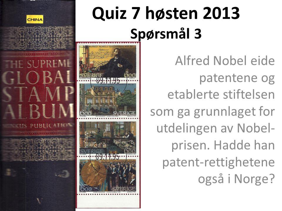 Quiz 7 høsten 2013 Spørsmål 3