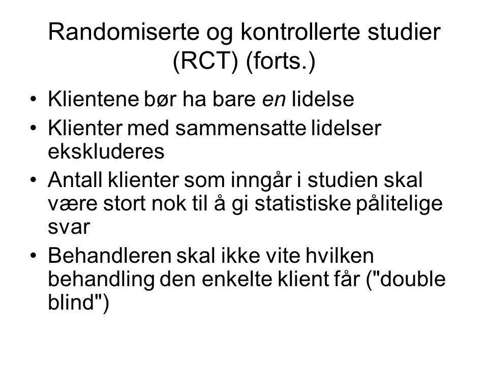 Randomiserte og kontrollerte studier (RCT) (forts.)