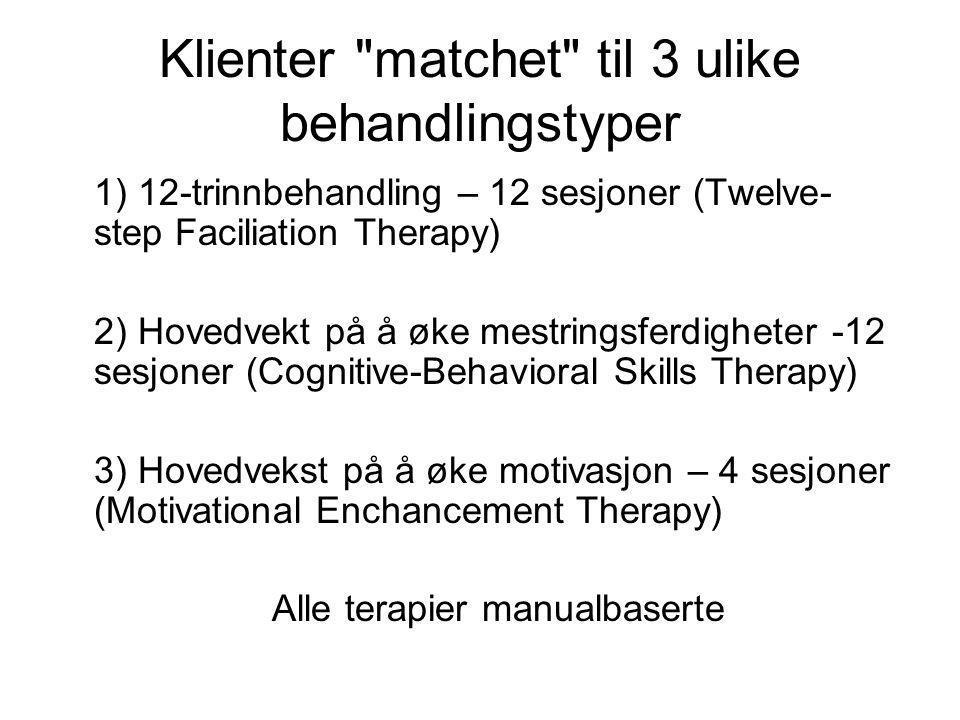 Klienter matchet til 3 ulike behandlingstyper