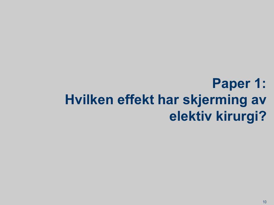 Paper 1: Hvilken effekt har skjerming av elektiv kirurgi