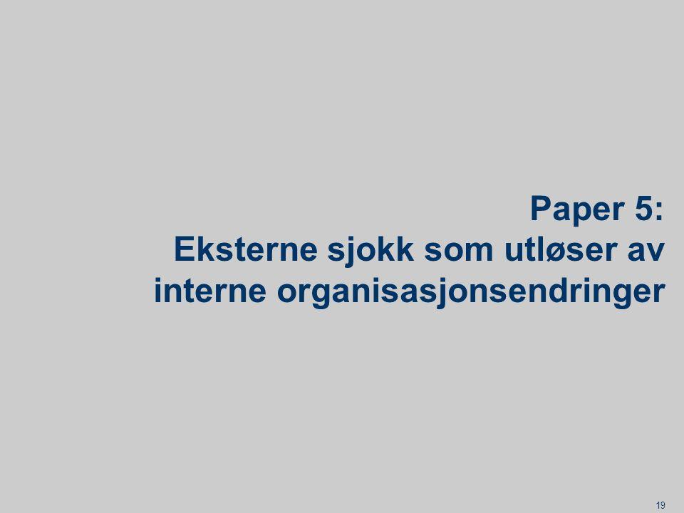 Paper 5: Eksterne sjokk som utløser av interne organisasjonsendringer