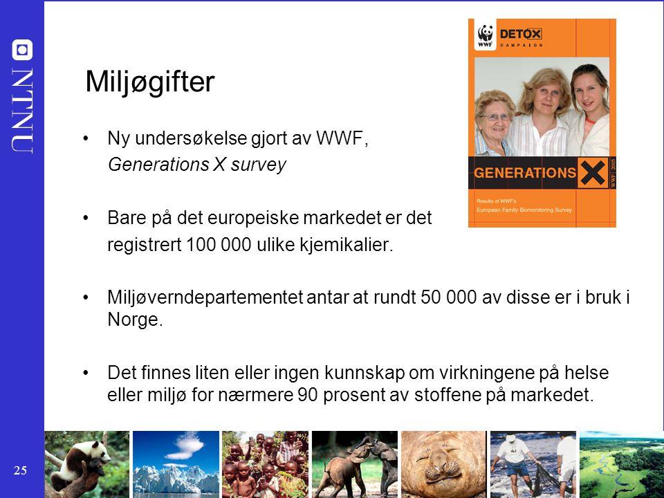 Miljøgifter Ny undersøkelse gjort av WWF, Generations X survey