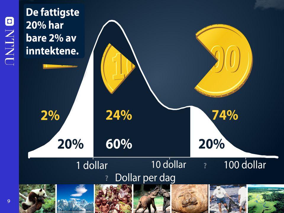 Dette skjer i en verden der de rikeste 20 % av verdens befolkning tar 74% av verdens inntekter, mens 20% av befolkningen deler 2 % av inntektene.