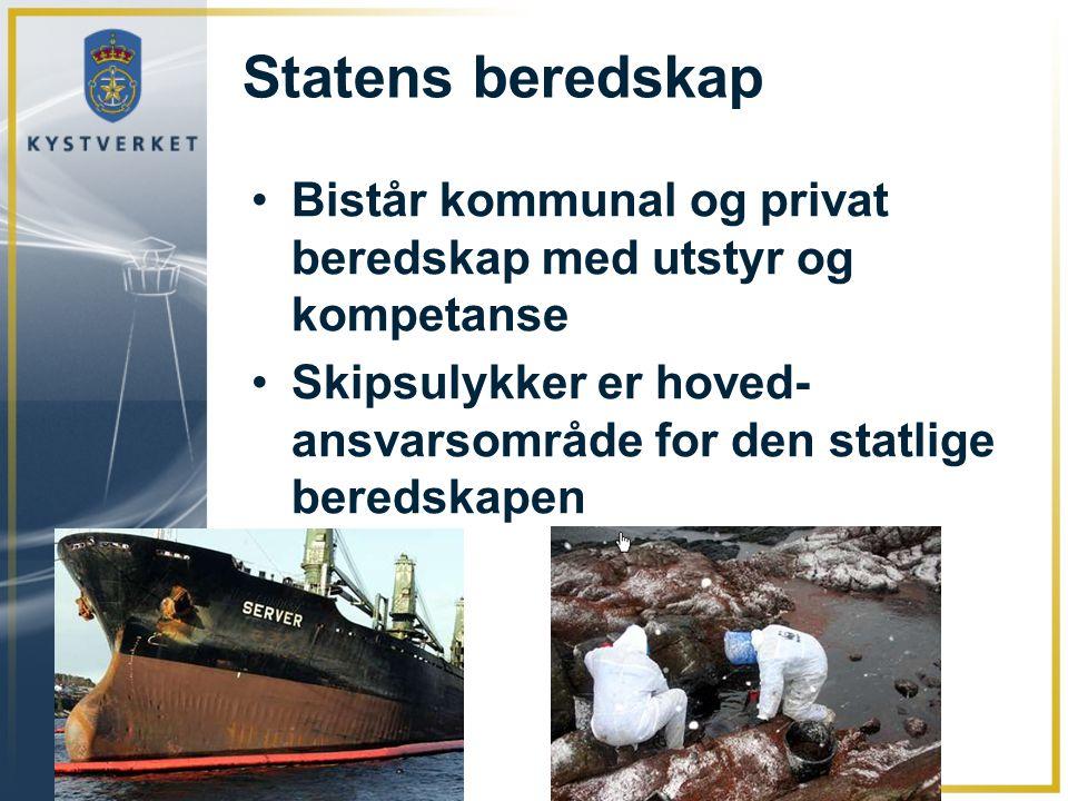 Statens beredskap Bistår kommunal og privat beredskap med utstyr og kompetanse. Skipsulykker er hoved- ansvarsområde for den statlige beredskapen.