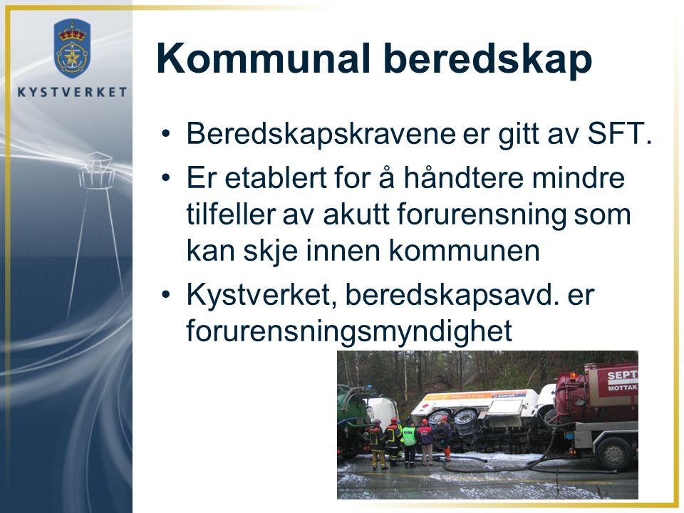 Kommunal beredskap Beredskapskravene er gitt av SFT.
