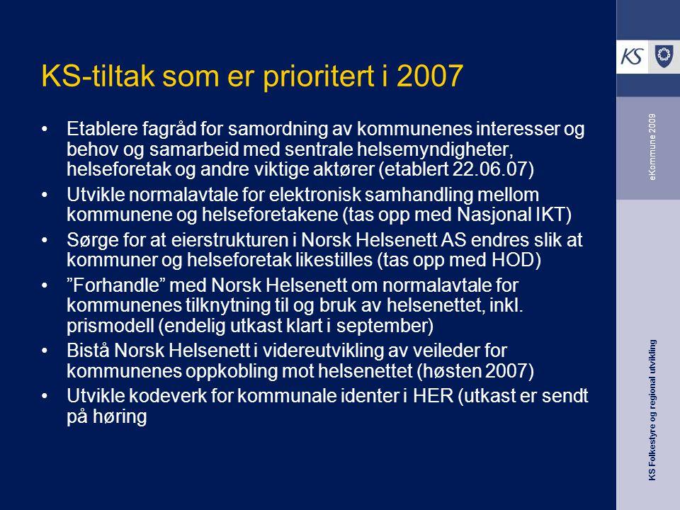 KS-tiltak som er prioritert i 2007