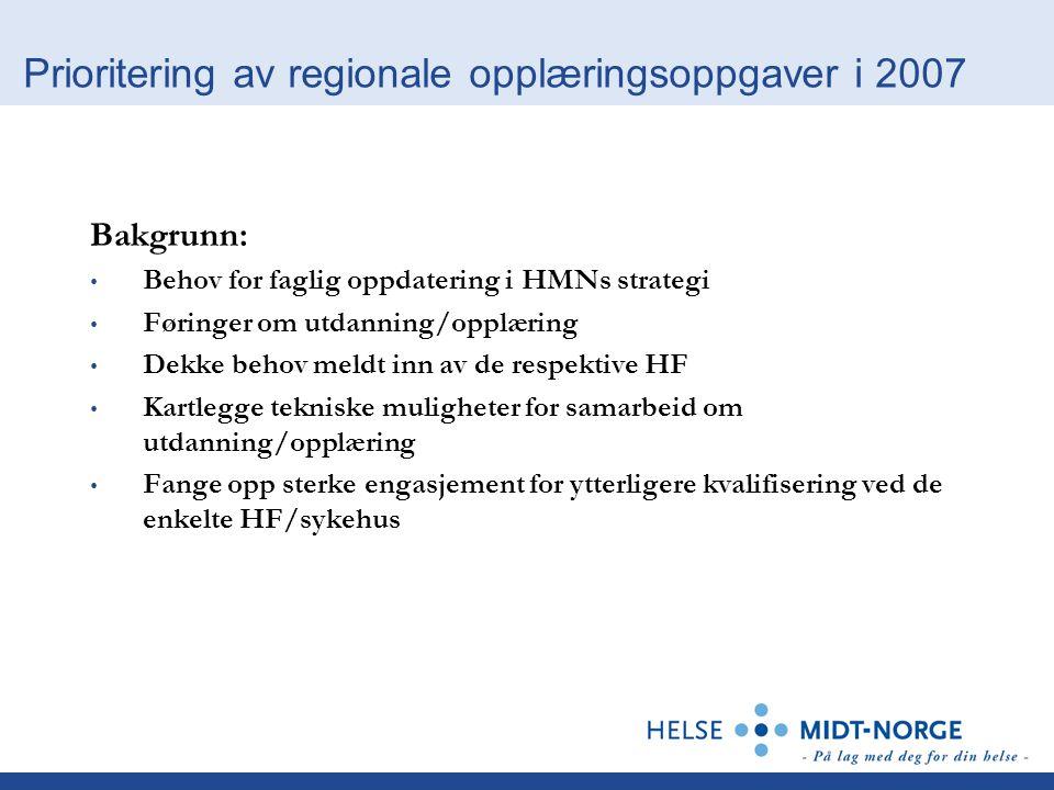 Prioritering av regionale opplæringsoppgaver i 2007