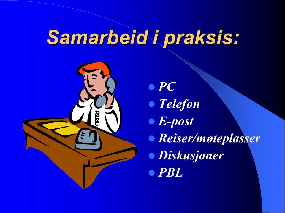 Samarbeid i praksis: PC Telefon E-post Reiser/møteplasser Diskusjoner