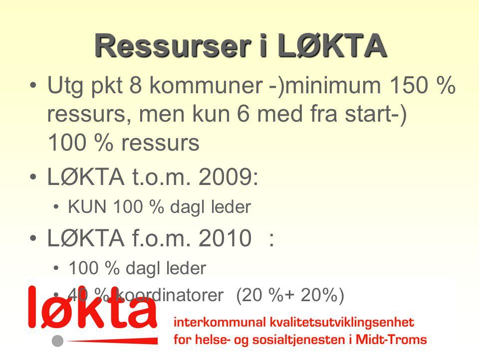 Ressurser i LØKTA Utg pkt 8 kommuner -)minimum 150 % ressurs, men kun 6 med fra start-) 100 % ressurs.