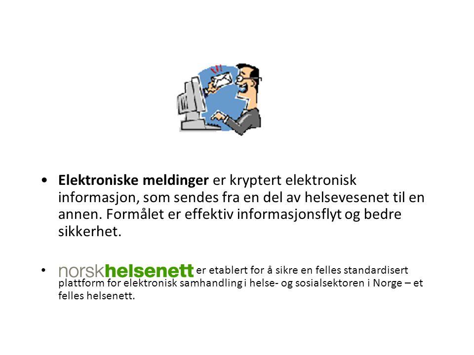Elektroniske meldinger er kryptert elektronisk informasjon, som sendes fra en del av helsevesenet til en annen. Formålet er effektiv informasjonsflyt og bedre sikkerhet.
