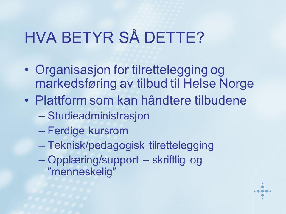 HVA BETYR SÅ DETTE Organisasjon for tilrettelegging og markedsføring av tilbud til Helse Norge. Plattform som kan håndtere tilbudene.