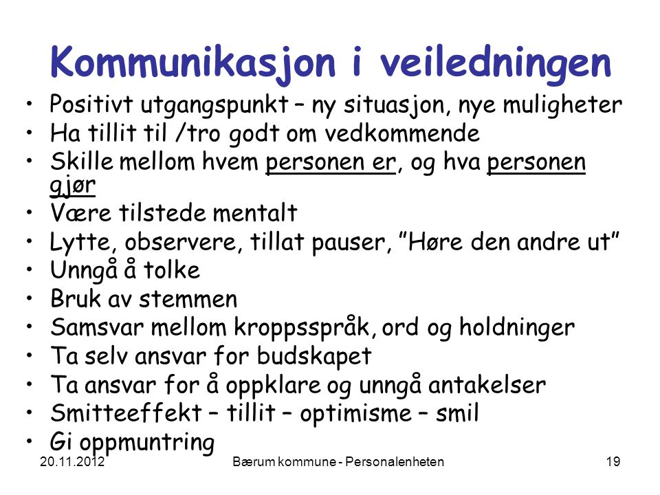 Kommunikasjon i veiledningen