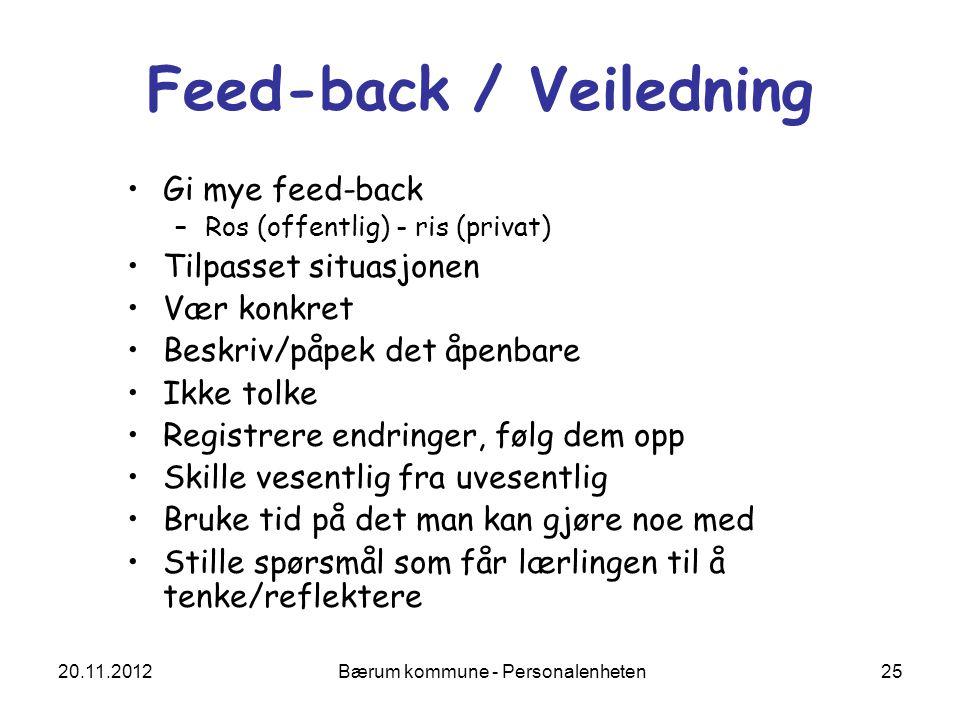 Feed-back / Veiledning