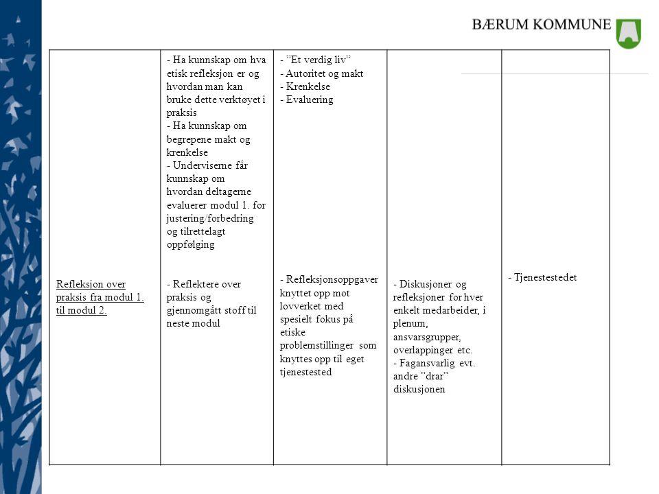 Refleksjon over praksis fra modul 1. til modul 2. - Ha kunnskap om hva. etisk refleksjon er og. hvordan man kan.