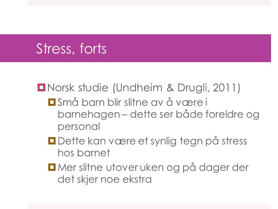 Stress, forts Norsk studie (Undheim & Drugli, 2011)