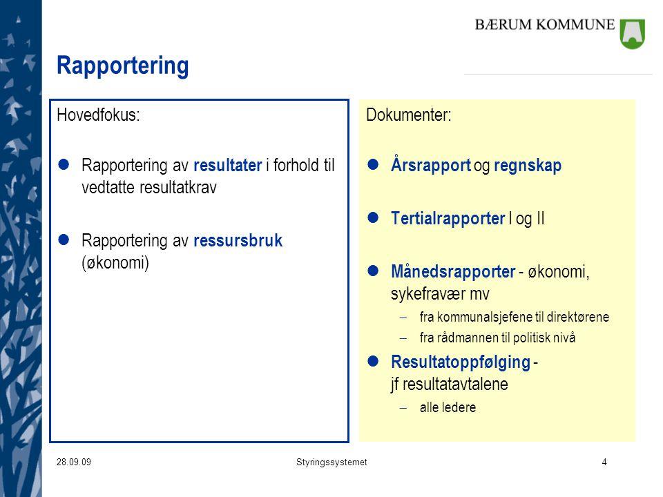 Rapportering Hovedfokus: