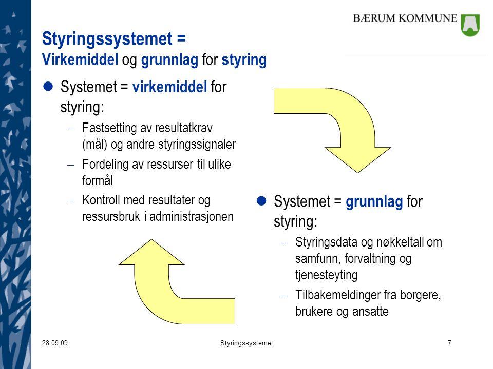 Styringssystemet = Virkemiddel og grunnlag for styring