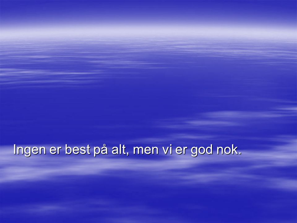 Ingen er best på alt, men vi er god nok.