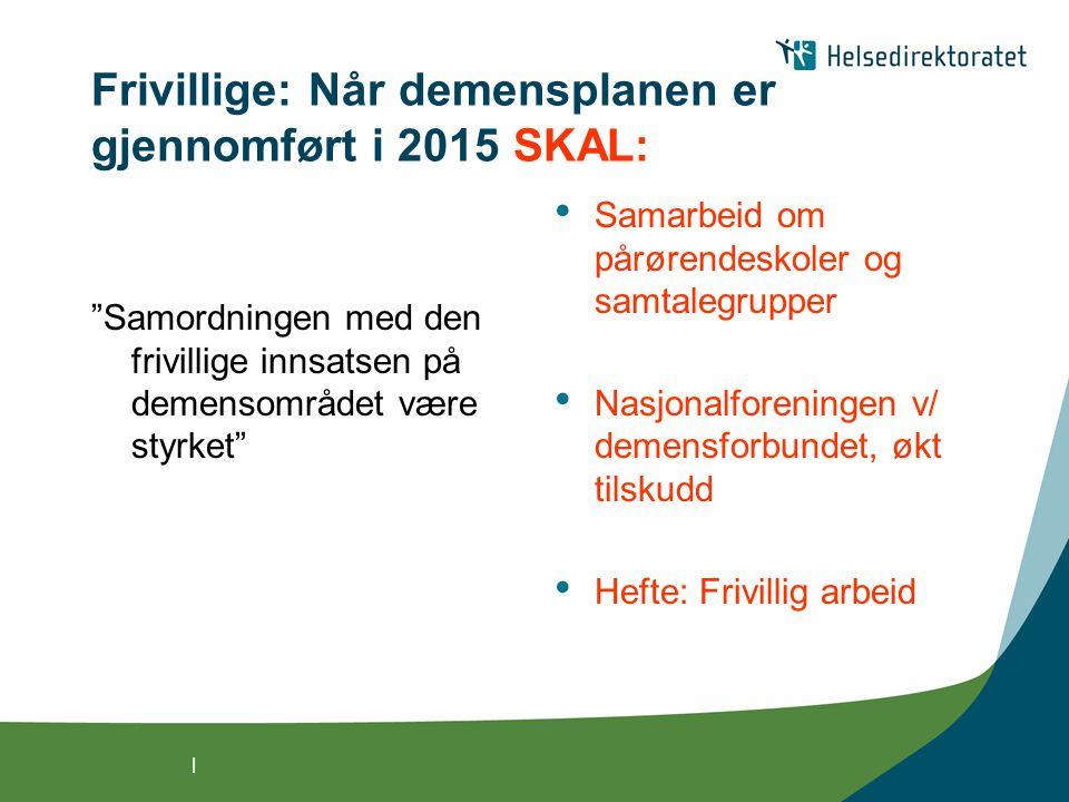 Frivillige: Når demensplanen er gjennomført i 2015 SKAL: