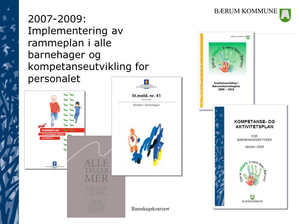 2007-2009: Implementering av rammeplan i alle barnehager og kompetanseutvikling for personalet