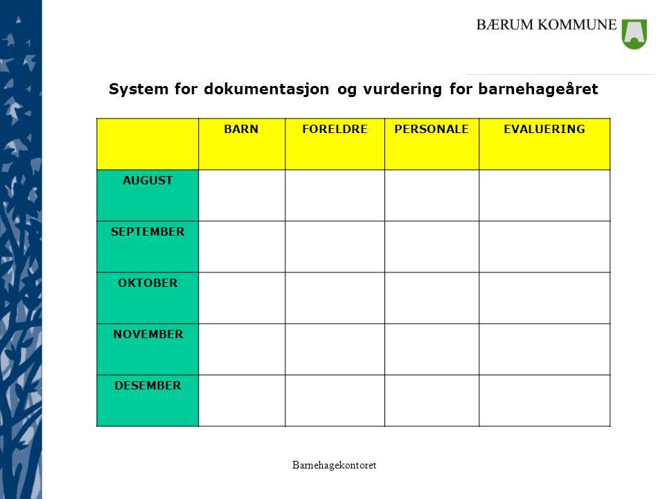 System for dokumentasjon og vurdering for barnehageåret