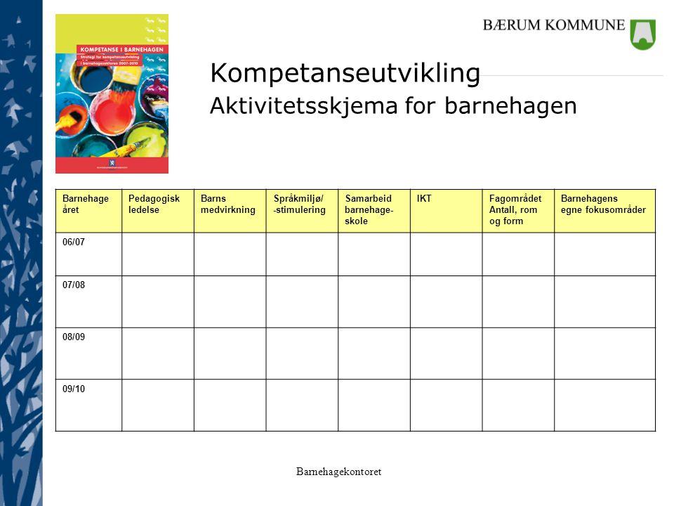 Kompetanseutvikling Aktivitetsskjema for barnehagen Barnehageåret
