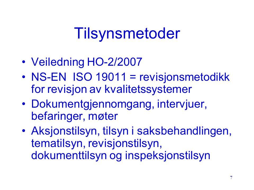 Tilsynsmetoder Veiledning HO-2/2007