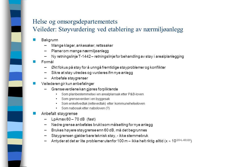 Helse og omsorgsdepartementets Veileder: Støyvurdering ved etablering av nærmiljøanlegg