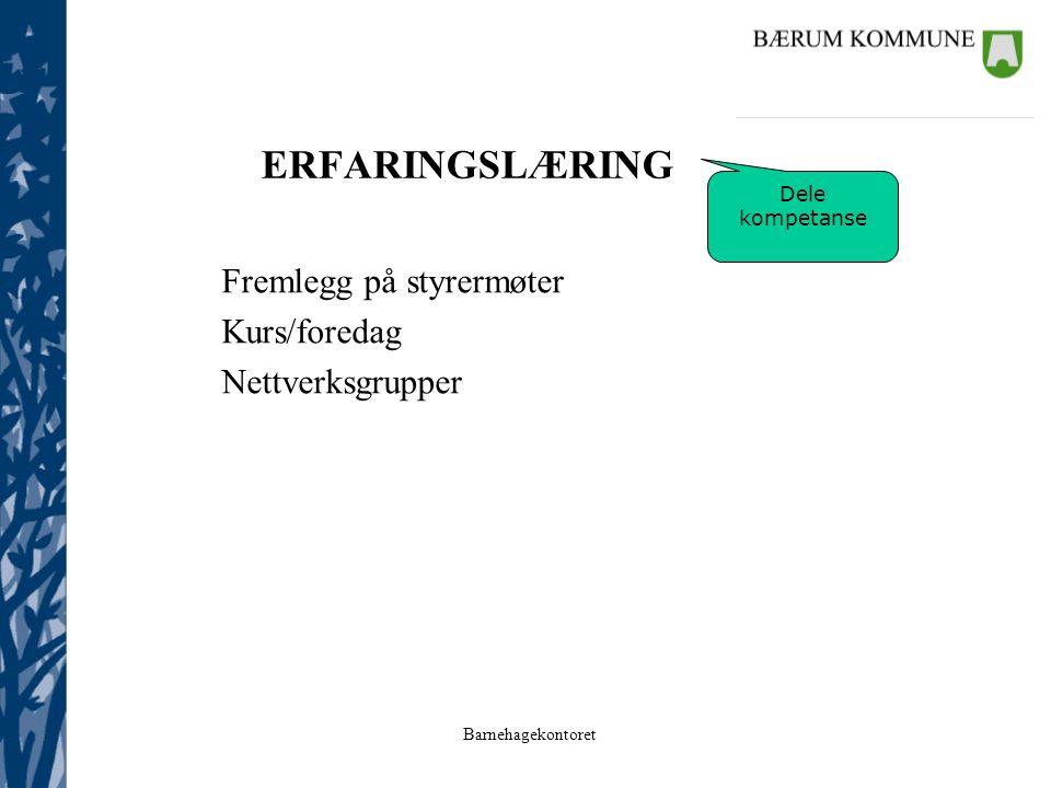 ERFARINGSLÆRING Fremlegg på styrermøter Kurs/foredag Nettverksgrupper