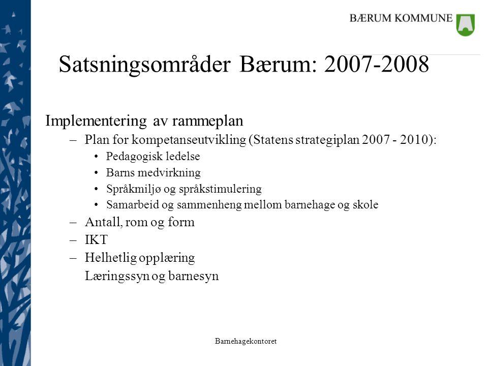 Satsningsområder Bærum: 2007-2008